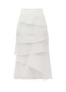 Brock Collection Asymmetric tiered cotton-blend poplin midi skirt