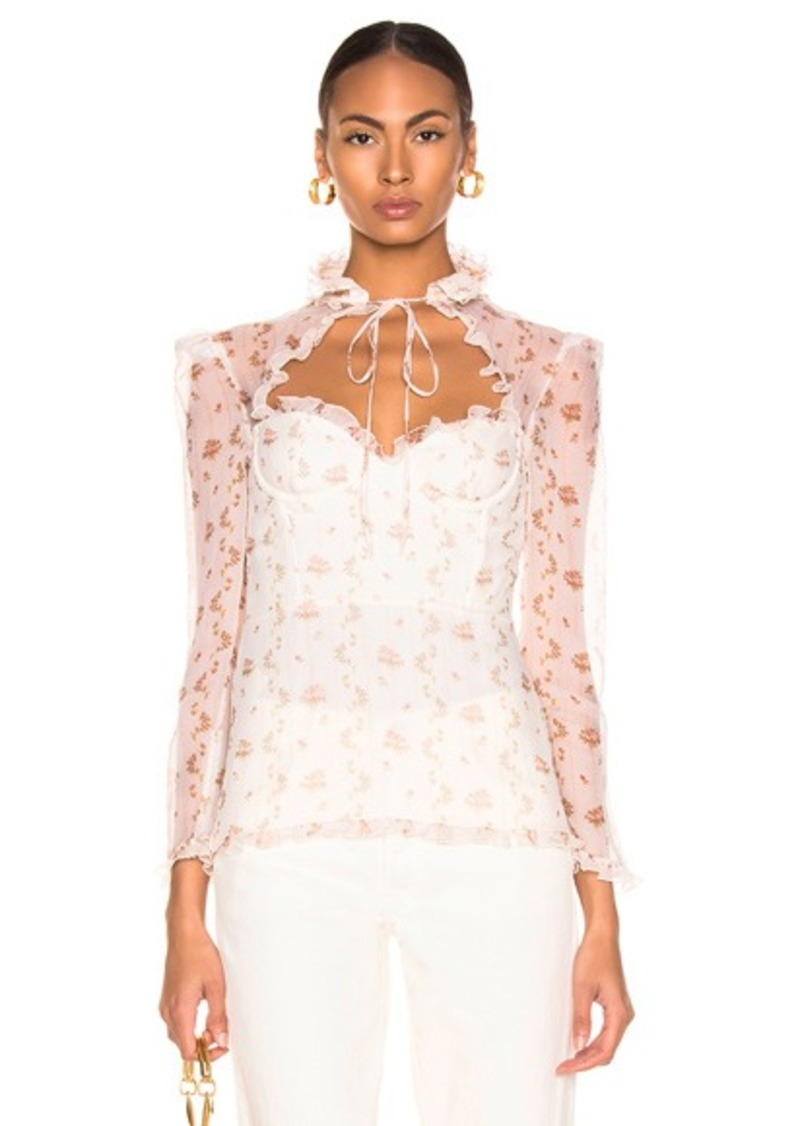 Brock Collection Floral Bustier Long Sleeve Top