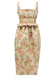 Brock Collection Floral-jacquard ottoman midi dress