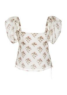 Brock Collection Floral-Print Cotton-Silk Top
