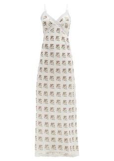 Brock Collection Floral-print lace cotton-blend slip dress