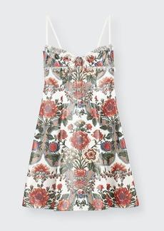 Brock Collection Floral-Print Satin Mini Dress