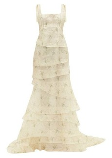 Brock Collection Floral-print tiered silk dress