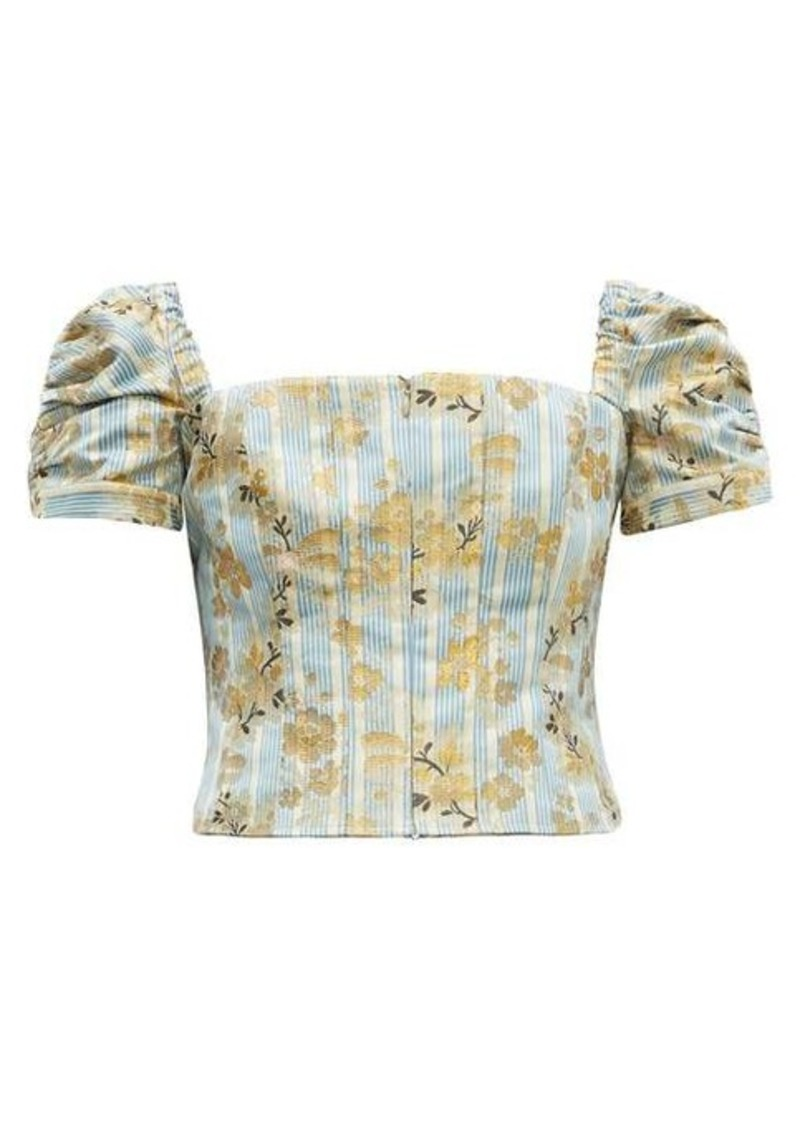 Brock Collection Platano floral cotton-blend jacquard cropped top