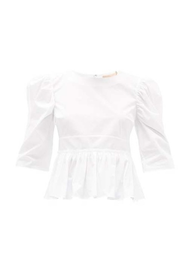 Brock Collection Puffed-sleeve cotton-blend top