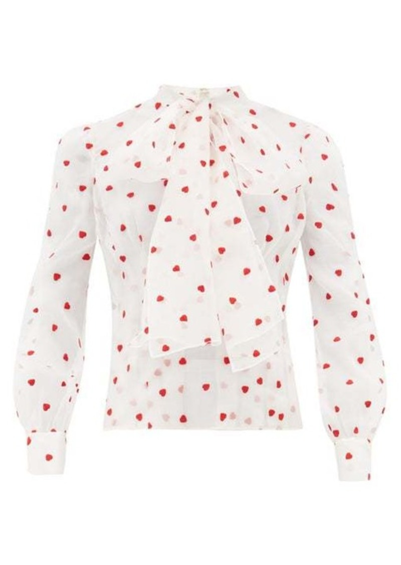 Brock Collection Pussy-bow heart-embroidered silk-blend blouse