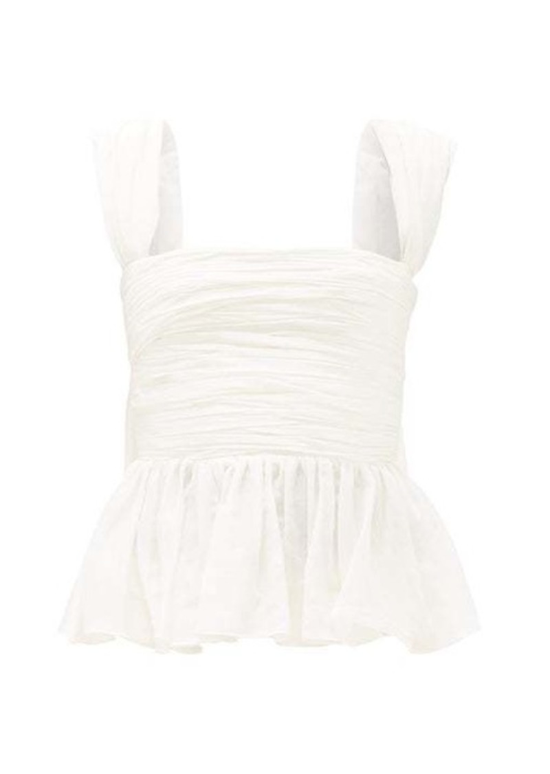 Brock Collection Ruffled-peplum ruched cotton-blend voile top