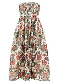 Brock Collection Saura strapless floral-print taffeta A-line dress