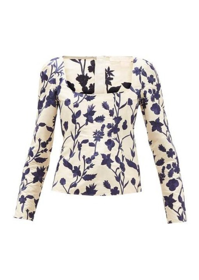Brock Collection Square-neck floral-embroidered shantung top