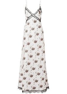 Brock Collection Woman Onorina Lace-trimmed Floral-print Taffeta Maxi Dress Light Gray