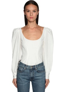 Brock Collection Cotton Blend Top W/ Puff Sleeves