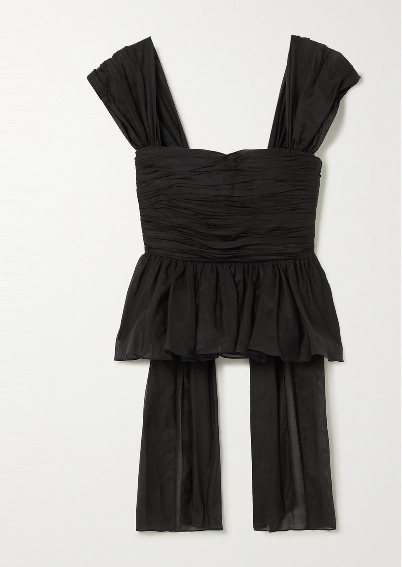 Brock Collection Draped Ruched Cotton And Silk-blend Peplum Top