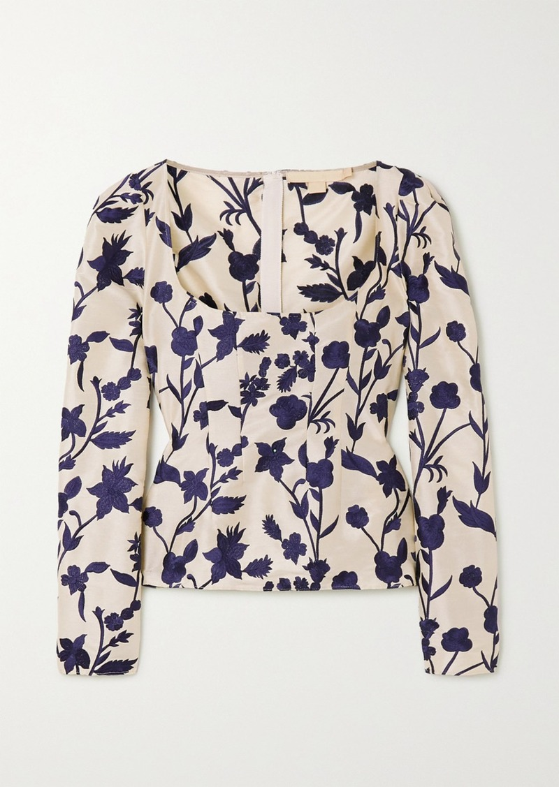 Brock Collection Embroidered Shantung Blouse