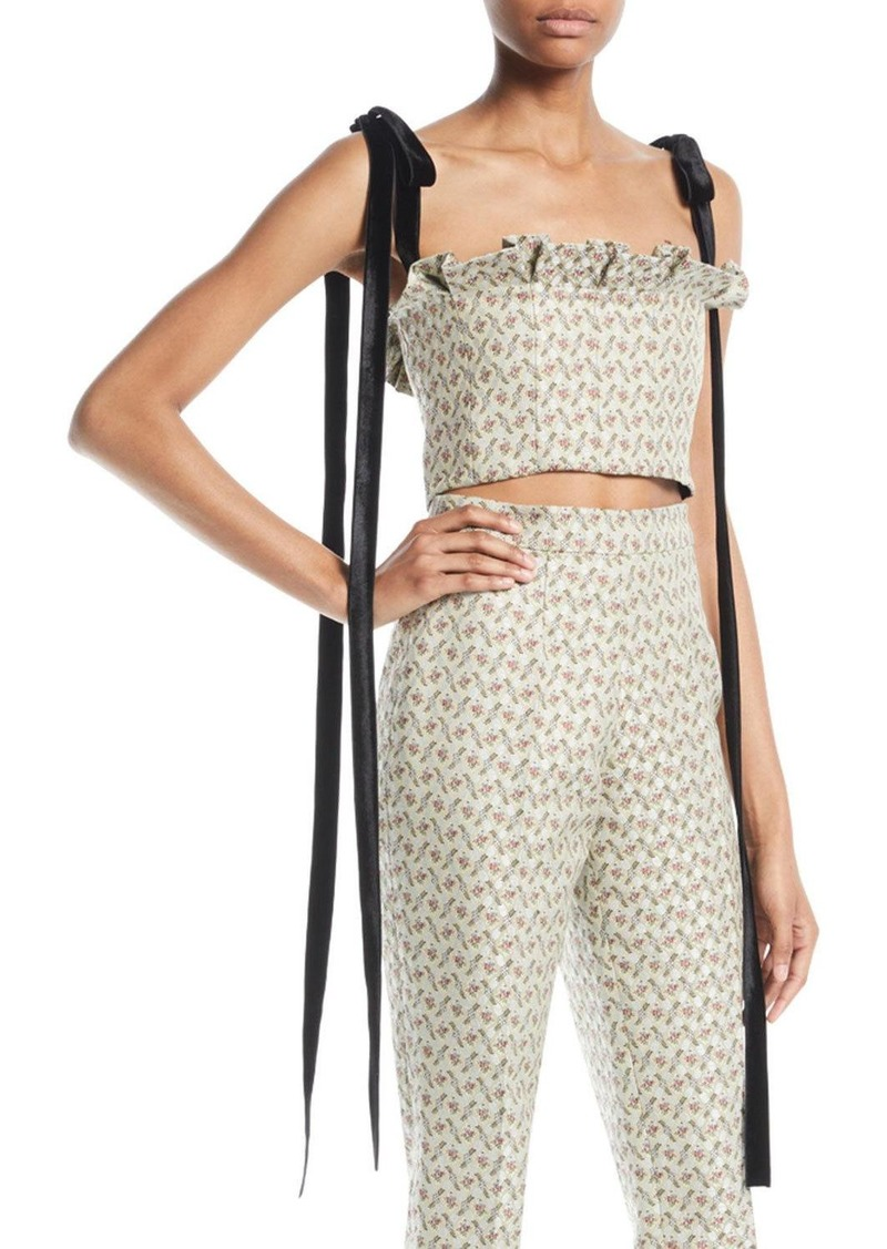 Brock Collection Floral-Jacquard Bustier Cropped Top w/ Velvet Ties
