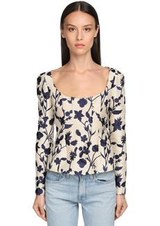 Brock Collection Flower Embroidered Satin Blouse