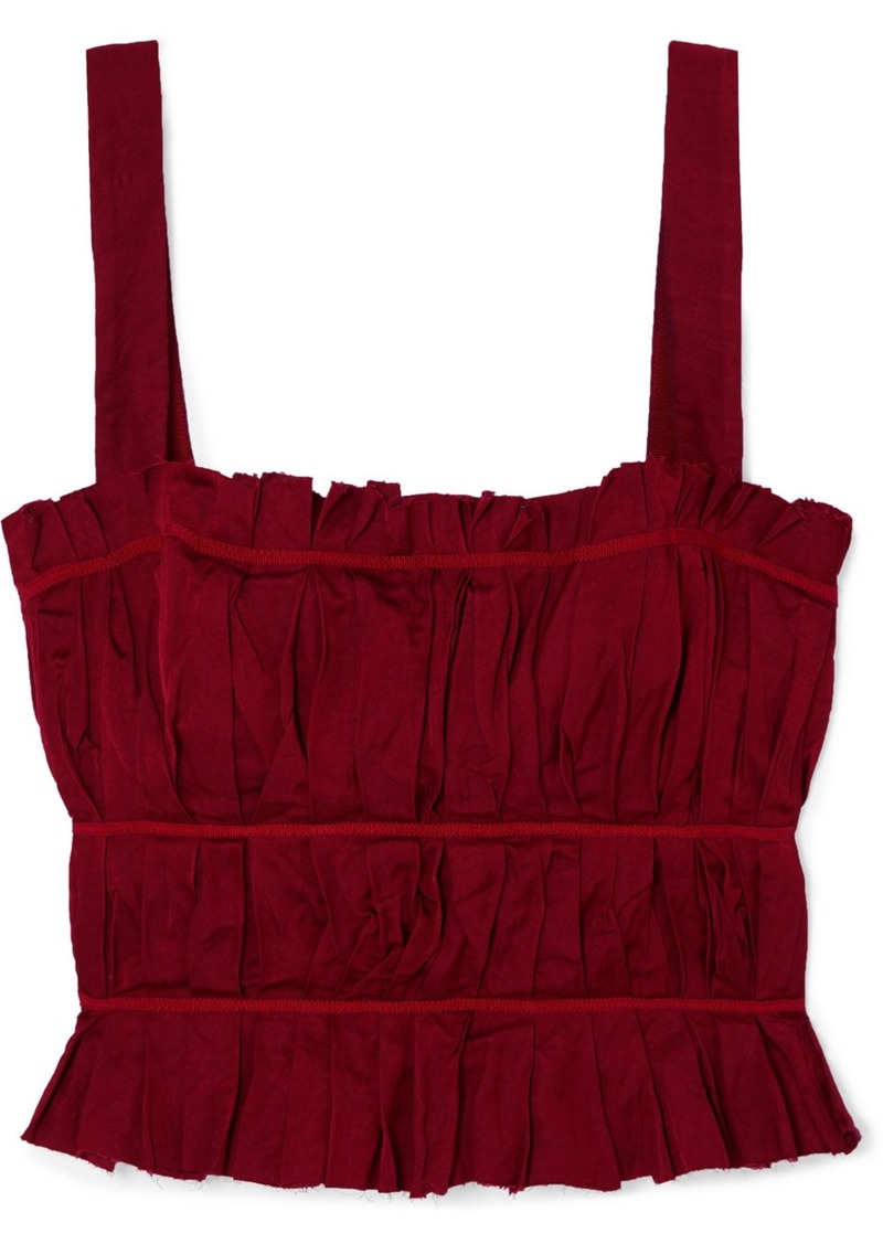 Brock Collection Frayed Ruched Crepe Bustier Top