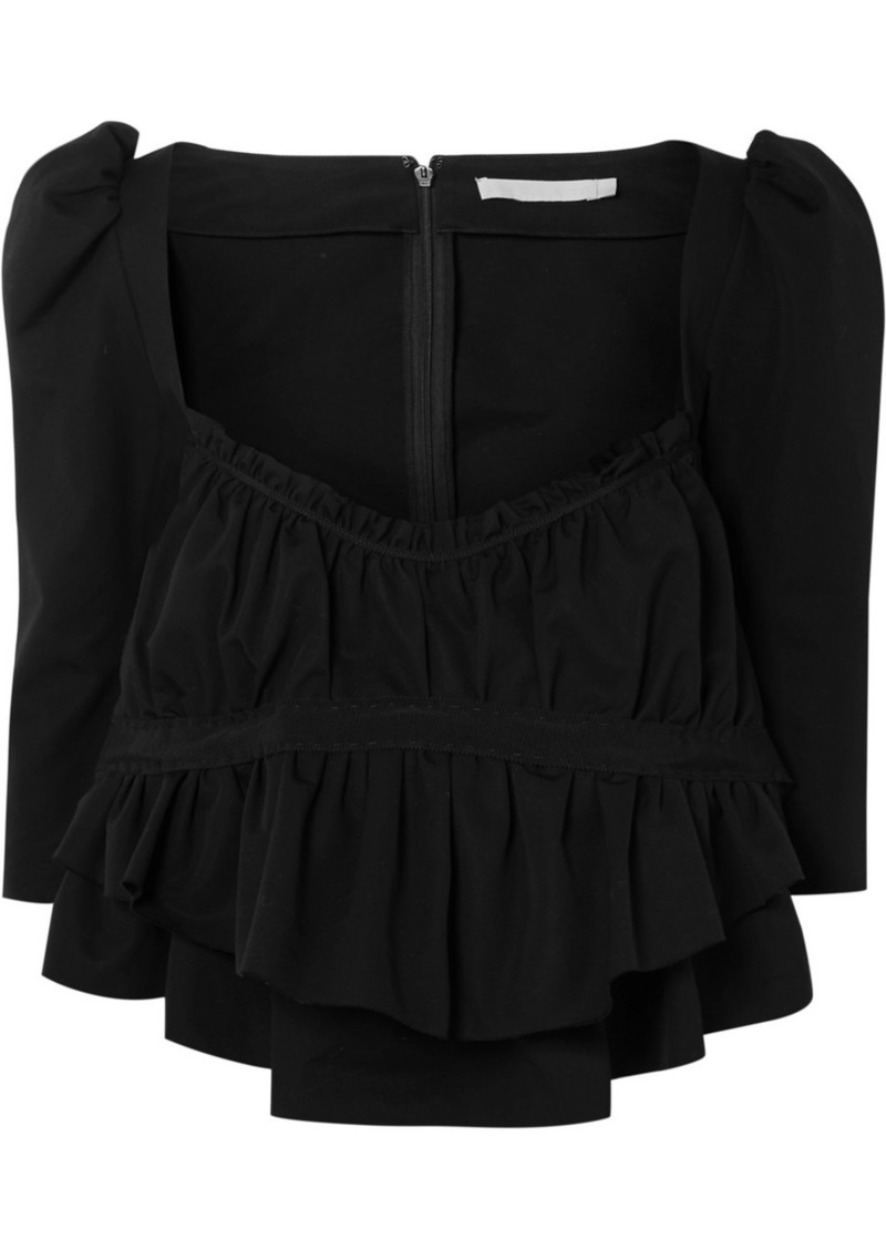 Brock Collection Grosgrain-trimmed Ruched Cotton Top
