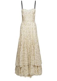 Brock Collection Printed Linen & Cotton Long Dress