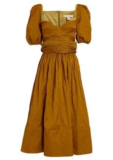 Brock Collection Puff Sleeve Poplin Midi Dress