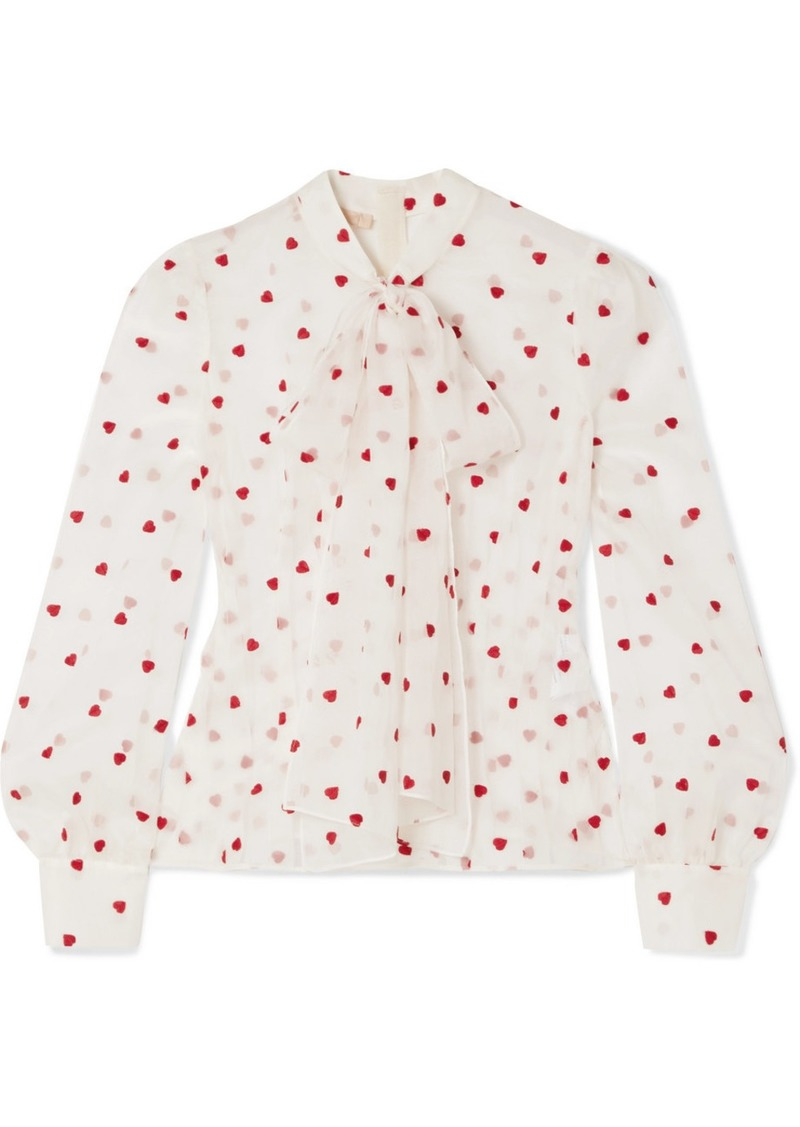 Brock Collection Pussy-bow Embroidered Silk-blend Organza Blouse