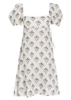 Brock Collection Rose Printed Puff Sleeve Dress