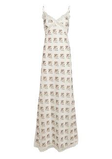 Brock Collection Rose Printed Silk-Cotton Slip Dress