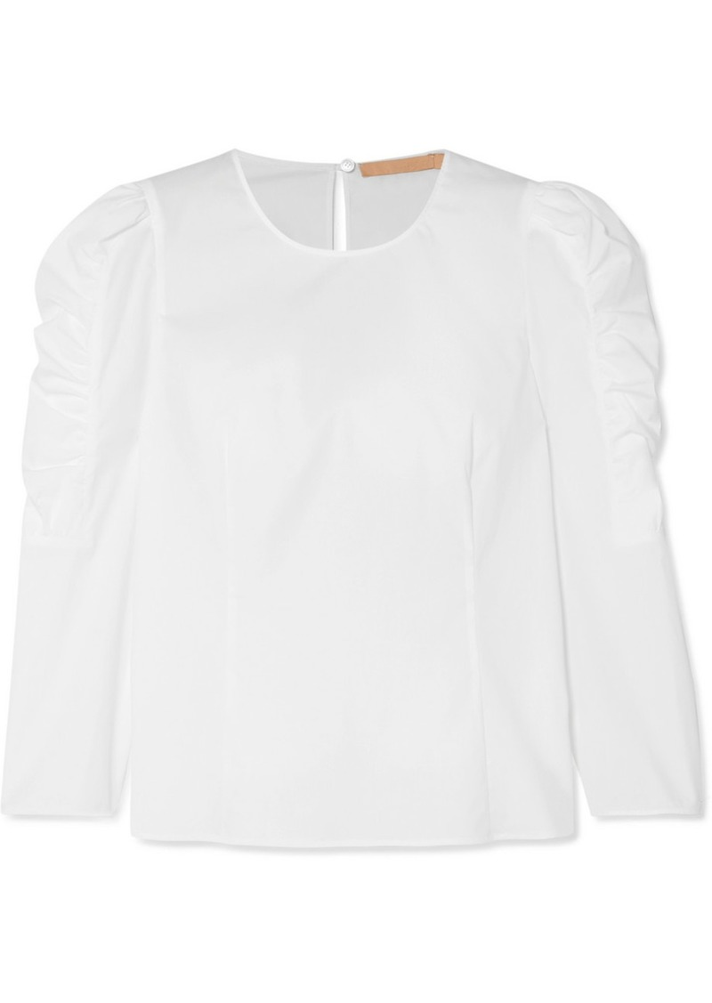 Brock Collection Ruched Cotton-blend Poplin Blouse