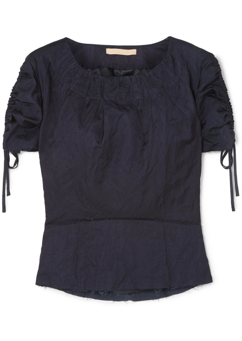 Brock Collection Ruched Grosgrain-trimmed Crinkled-twill Top