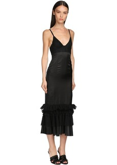 Brock Collection Ruffled Lace & Twill Midi Dress