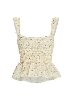 Brock Collection Silvia Ruched Floral Linen Top