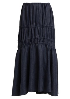 Brock Collection Susanna Linen Denim Midi Skirt