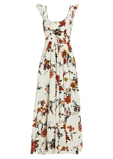Brock Collection Tamiko Ruched Floral Maxi Dress