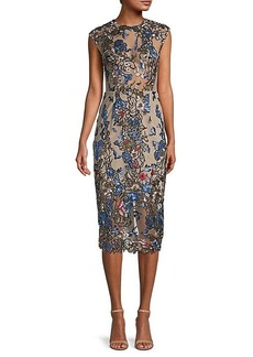 Bronx and Banco Birds of Paradise Sequin Embroidery Dress