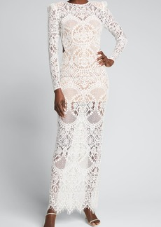 Bronx and Banco Allegra Long-Sleeve Lace Sheath Gown