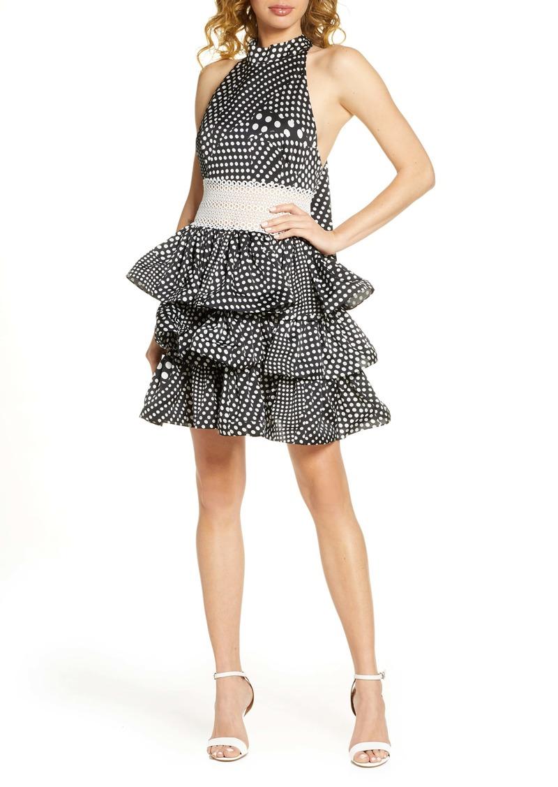 Bronx and Banco Aubrey Polka Dot Halter Neck Party Dress