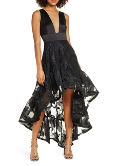 Bronx and Banco Fiona Noir Satin High/Low Gown