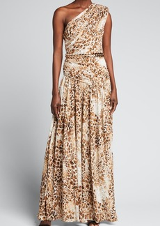 Bronx and Banco Jafari Animal-Print One-Shoulder Belted Gown