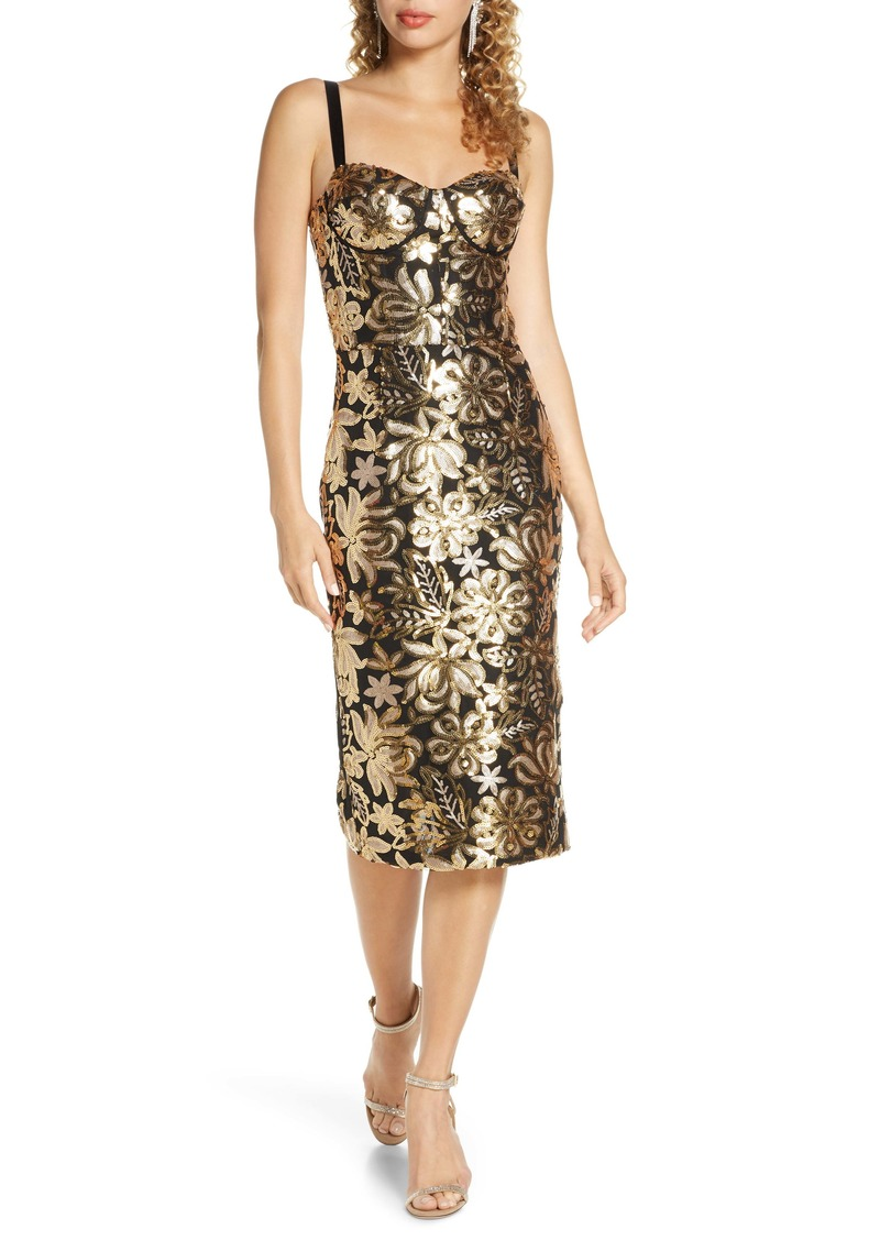 Bronx and Banco Louise Floral Sequin Sheath Dress
