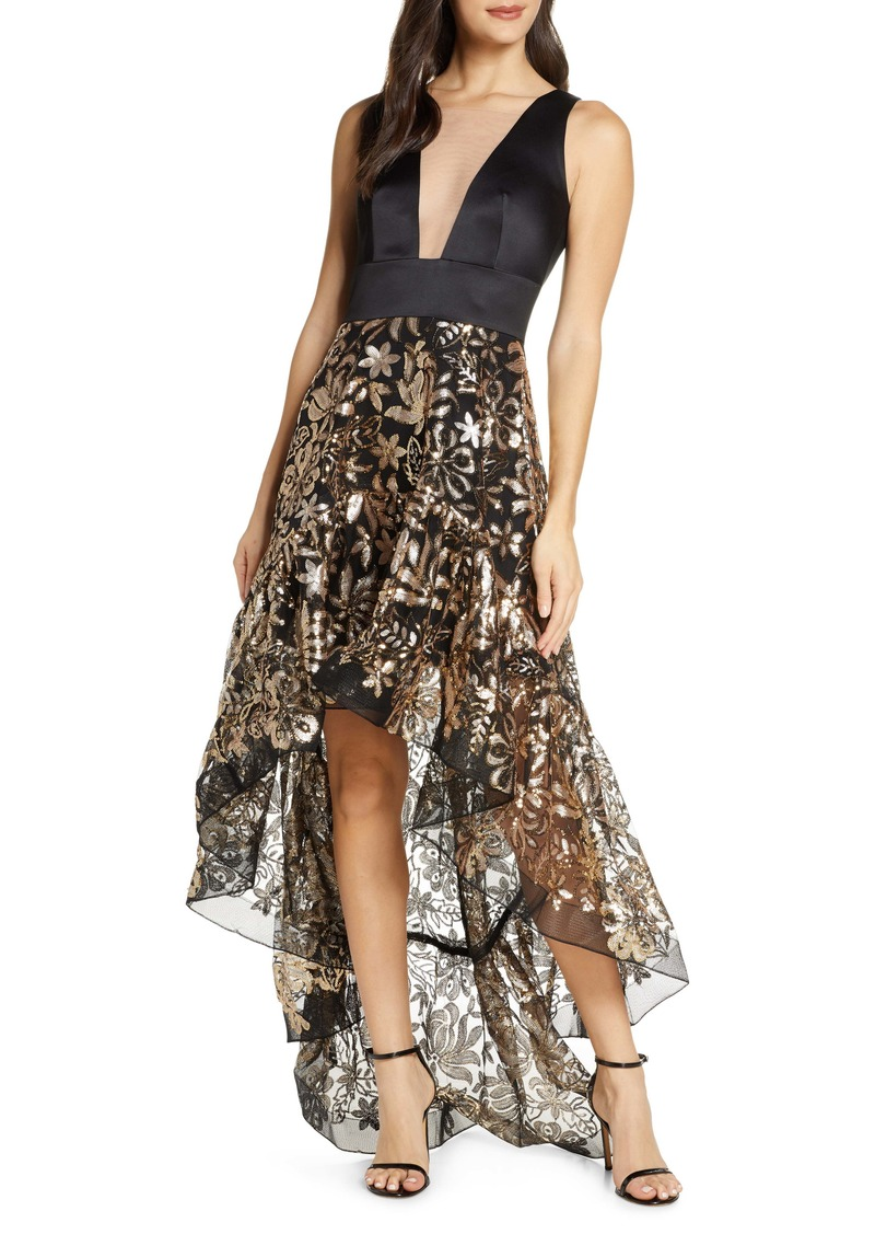 Bronx and Banco Louise Floral Sequin Sleeveless High/Low Gown