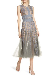 Bronx and Banco Megan Grey Floral Lace Midi Dress