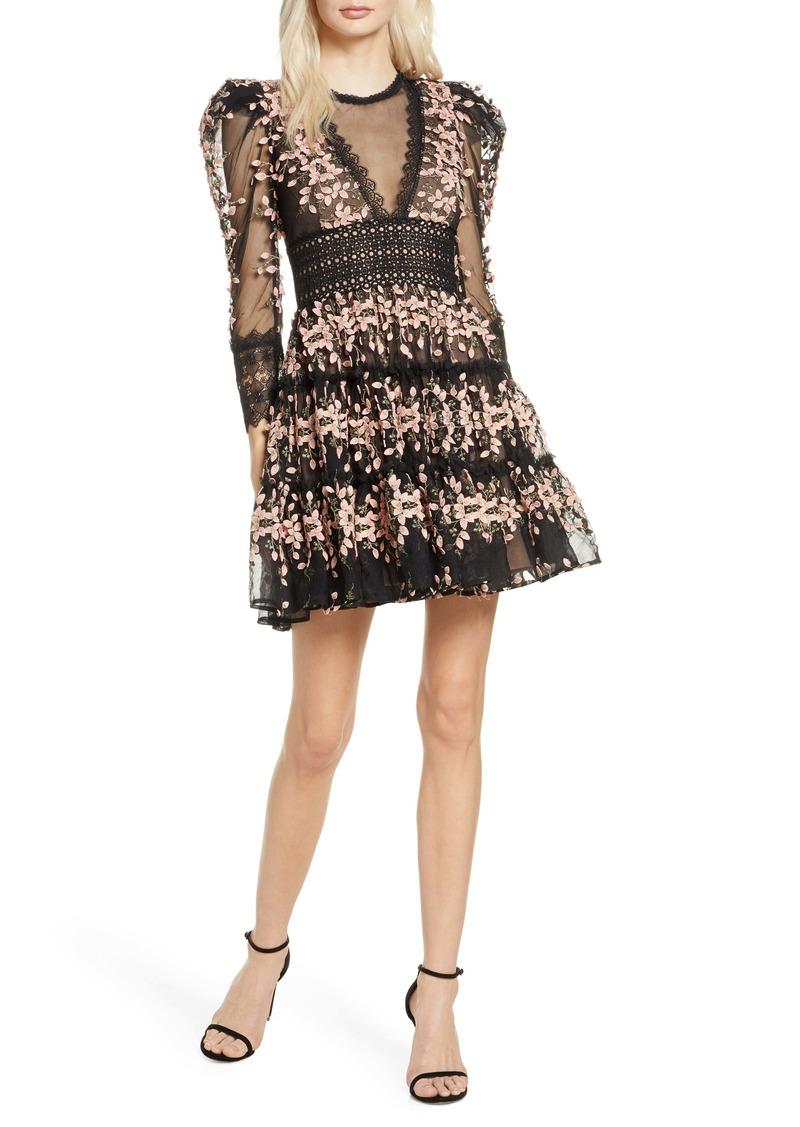Bronx and Banco Megan Long Sleeve Blush Floral Lace Minidress