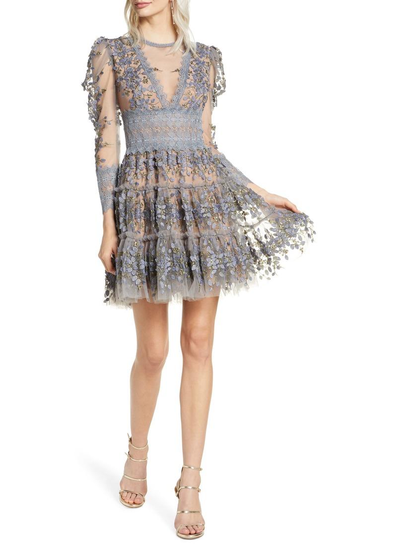 Bronx and Banco Megan Long Sleeve Grey Floral Lace Minidress