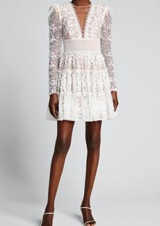 Bronx and Banco Megan V-Neck Illusion Tiered Lace Dress