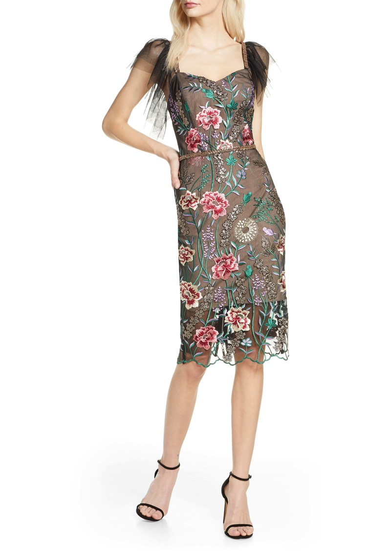 Bronx and Banco Melia Floral Beaded & Embroidered Cocktail Dress