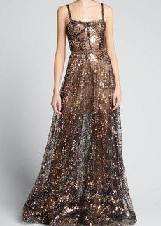 Bronx and Banco Midnite Noir Sequin Embellished Gown