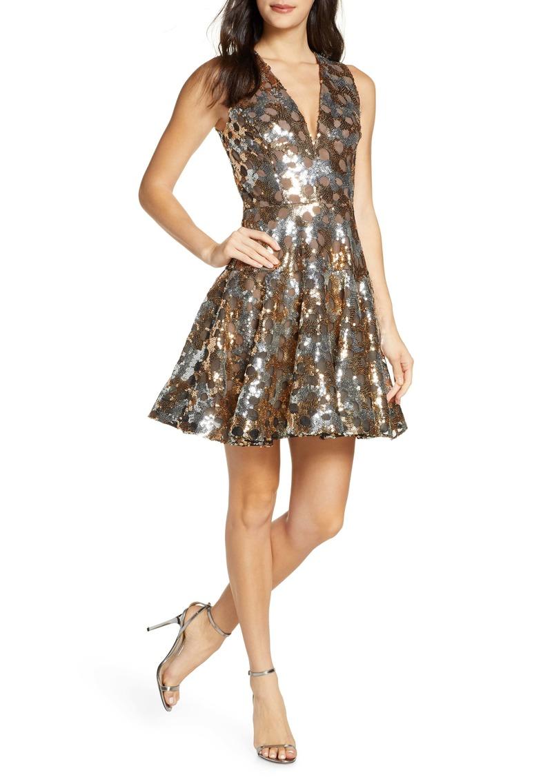 Bronx and Banco Nina Sleeveless Sequin Fit & Flare Minidress