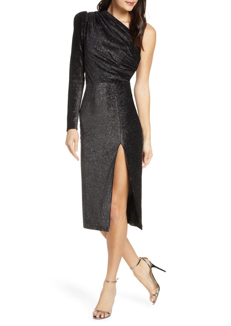 Bronx and Banco One-Shoulder Velvet Shimmer Midi Dress