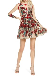 Bronx and Banco Rafaella Floral Sequin Long Sleeve Minidress