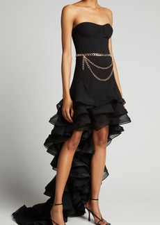 Bronx and Banco Savanna Bustier High-Low Ruffle Gown