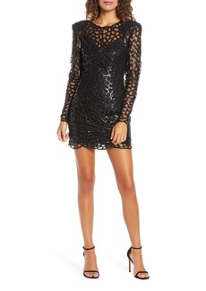 Bronx and Banco Spider Sequin Web Long Sleeve Minidress
